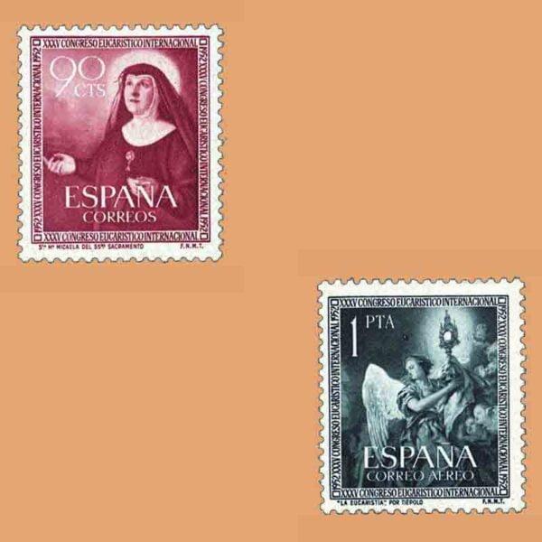 Edifil 1116-1117. Serie XXXV Congreso Eucarístico en Barcelona. 2 valores. ** 1952