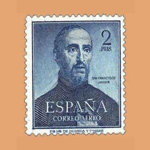 Edifil 1118. IV Centenario de la muerte de San Francisco Javier. Sello 2 ptas. ** 1952