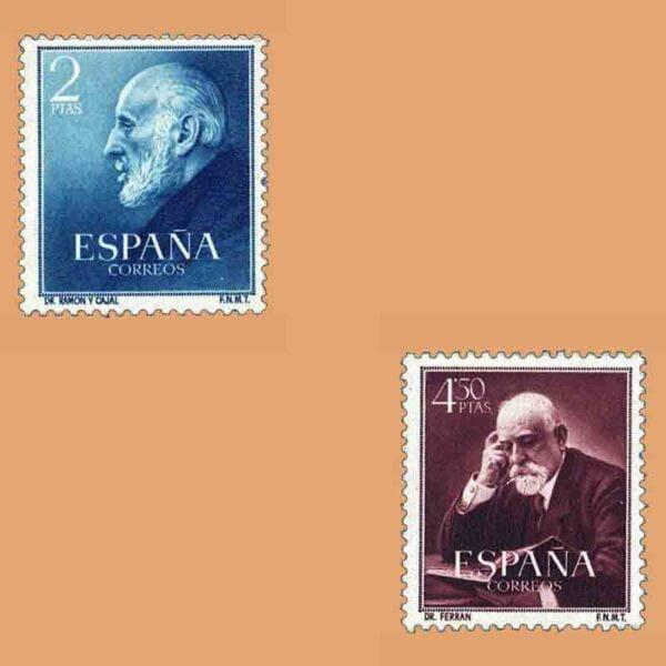 Edifil 1119-1120. Serie Doctores Ramón y Cajal, y Ferrán. 2 valores. ** 1952