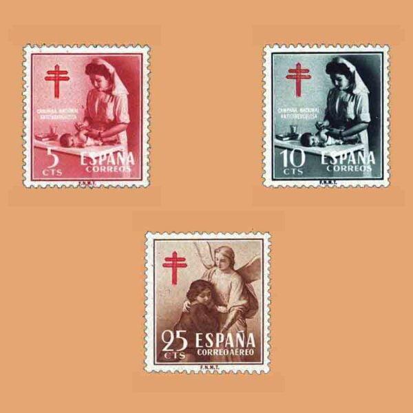 Edifil 1121-1123. Serie Pro tuberculosos. 3 valores. ** 1953
