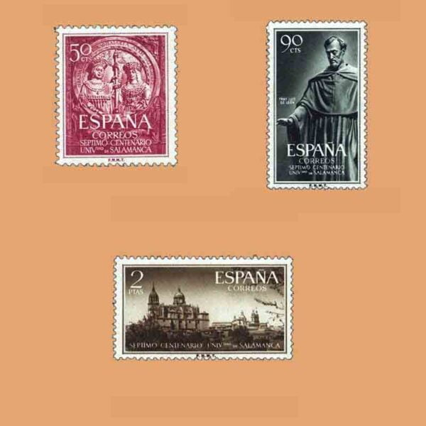 Edifil 1126-1128. Serie VII Centenario Universidad de Salamanca. 3 valores. ** 1953