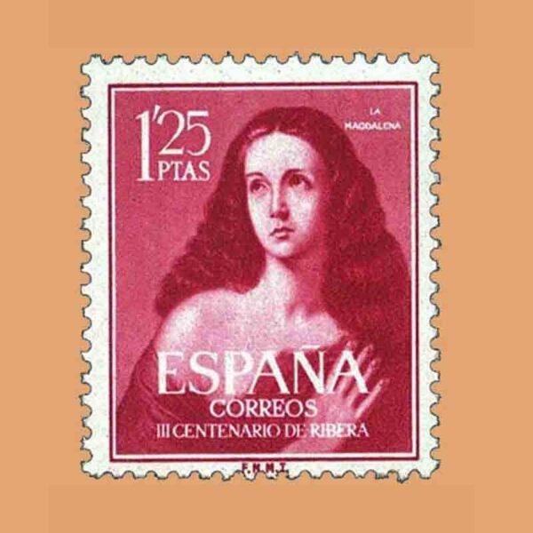 "Edifil 1129. III Centenario de Ribera ""El Españoleto"". Sello 1,25 ptas. ** 1954"
