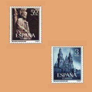 Edifil 1130-1131. Serie Año Santo Compostelano. 2 valores. ** 1954
