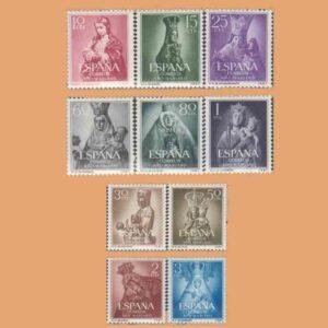 Edifil 1132-1141. Serie Año Mariano. 10 valores. ** 1954