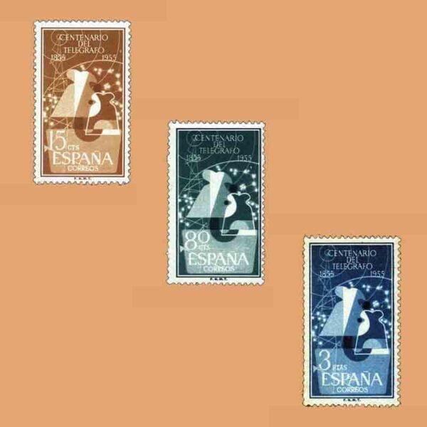 Edifil 1180-1182. Serie I Centenario del Telégrafo. 3 valores. ** 1955