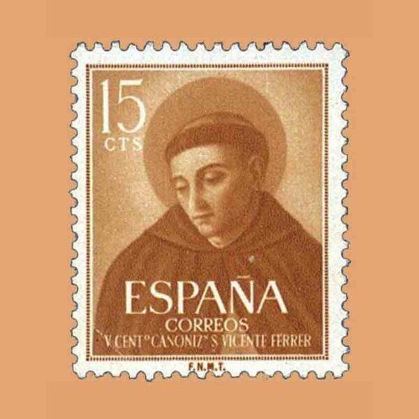 Edifil 1183. V Centenario de la canonización de San Vicente Ferrer. Sello 15 cts. ** 1955
