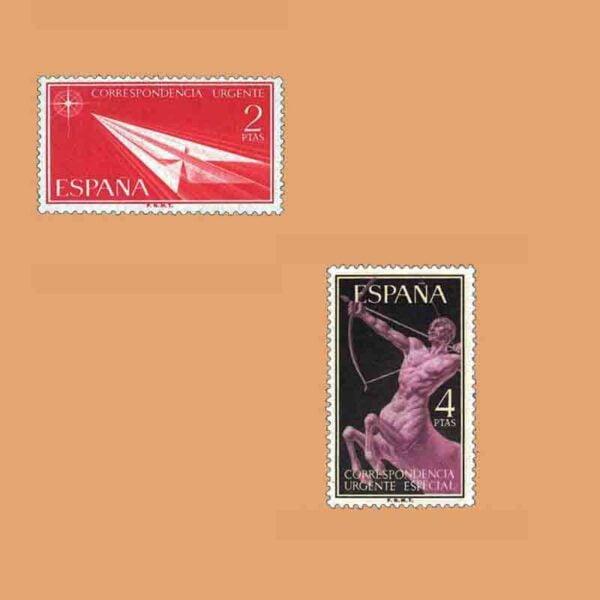 Edifil 1185-1186. Serie Alegorías. 2 valores. ** 1956