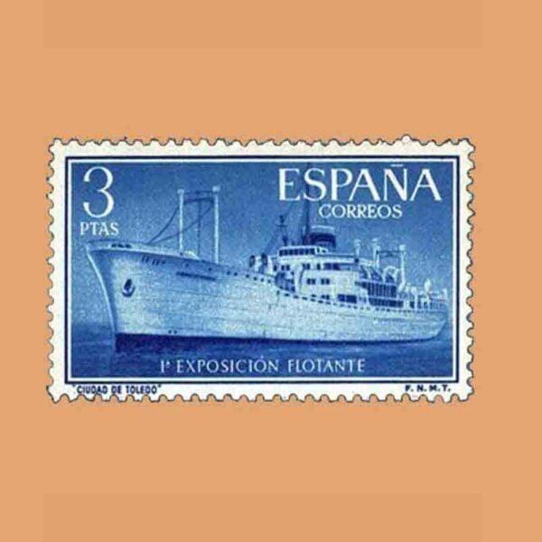 """Edifil 1191. Exposición Flotante en el buque """"Ciudad de Toledo"""". Sello 3 ptas. ** 1956"""