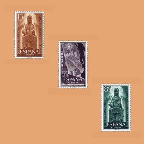 Edifil 1192-1194. Serie Año Jubilar de Montserrat. 3 valores. ** 1956