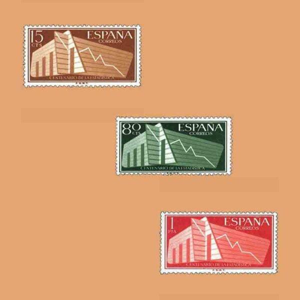 Edifil 1196-1198. Serie I Centenario de la Estadística Española. 3 valores. ** 1956