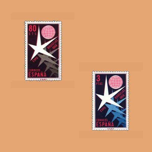 01220-01221. Serie Exposición de Bruselas. 2 valores. ** 1958