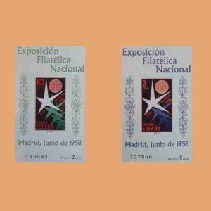 Edifil 1222-1223. Serie Exposición Filatélica Nacional. 2 valores HB. ** 1958