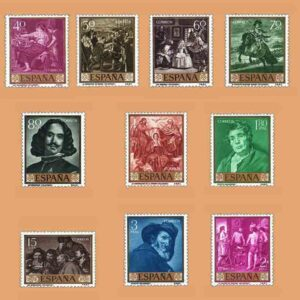 Edifil 1238-1247. Serie Diego de Silva y Velázquez. 10 valores. ** 1959