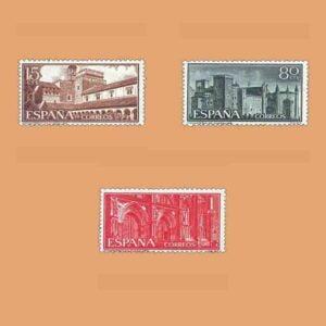 01250-01252. Serie Monasterio de Ntra. Señora de Guadalupe. 3 valores. ** 1959