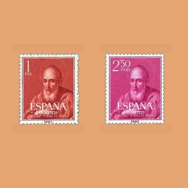 01292-01293. Serie Canonización del Beato Juan de Ribera. 2 valores. ** 1960