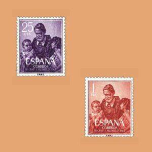 Edifil 1296-1297. Serie Centenario de la muerte de San Vicente de Paul. 2 valores. ** 1960