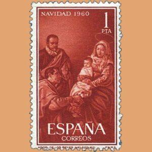 Edifil 1325. Adoración de los Reyes Magos de Velázquez. Sello 1 pta. ** Navidad 1960