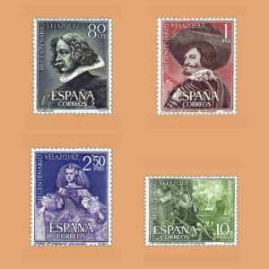 Edifil 1340-1343. Serie III Centenario de la muerte de Velázquez. 4 valores. ** 1961
