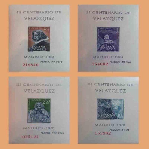 Edifil 1344-1347. Serie Velázquez. Hojas Bloque. 4 valores. ** 1961
