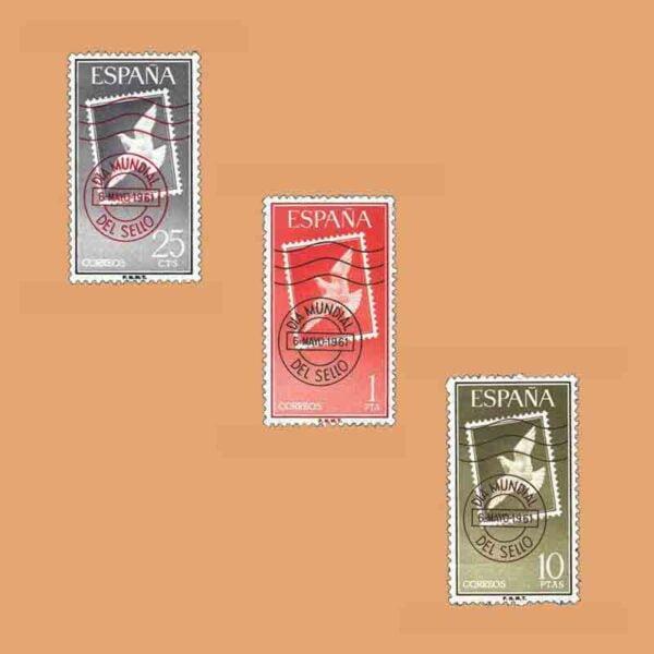 Edifil 1348-1350. Serie Día Mundial del Sello. 3 valores. ** 1961