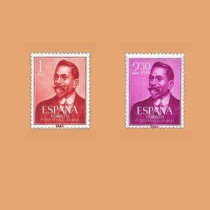 Edifil 1351-1352. Serie I Centenario del nacimiento de Juan Vázquez de Mella. 2 valores. ** 1961