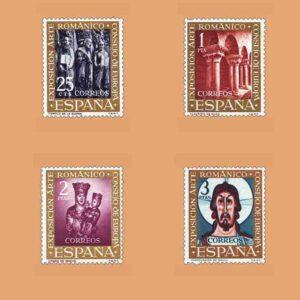 "Edifil 1365-1368. Serie VII Exposición del Consejo de Europa, ""El arte románico"". 4 valores. ** 1961"