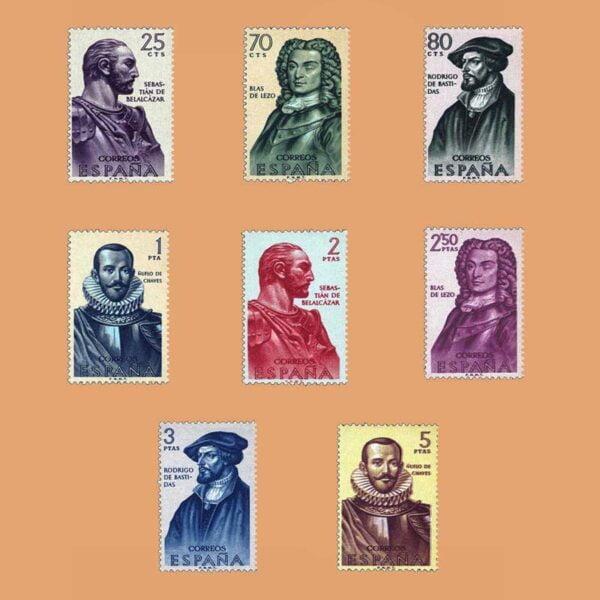 Edifil 1374-1381. Serie Conquistadores de Nueva Granada. Forjadores de Amércia. 8 valores. ** 1961