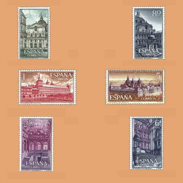 01382-01387. Serie Monasterio de San Lorenzo de El Escorial. 6 valores. ** 1961