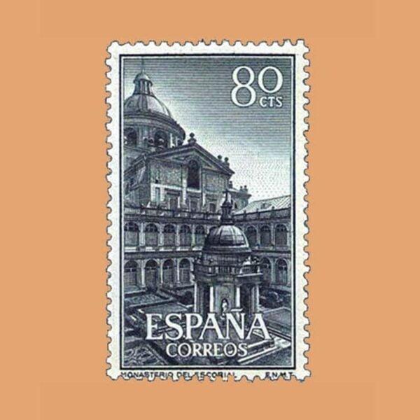 Edifil 1383. El Escorial. Patio de los Evangelistas. Sello 80 cts. ** 1961