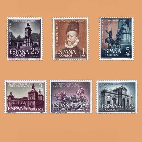 Edifil 1388-1393. Serie IV Centenario de la Capitalidad de Madrid. 6 valores. ** 1961