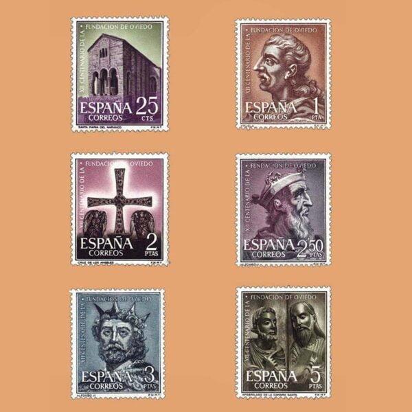 Edifil 1394-1399. Serie XII Centenario de la Fundación de Oviedo. 6 valores. ** 1961