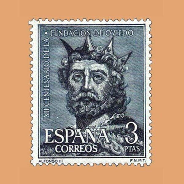 Edifil 1398. Fundación de Oviedo. Alfonso III. Sello 3 ptas. ** 1961