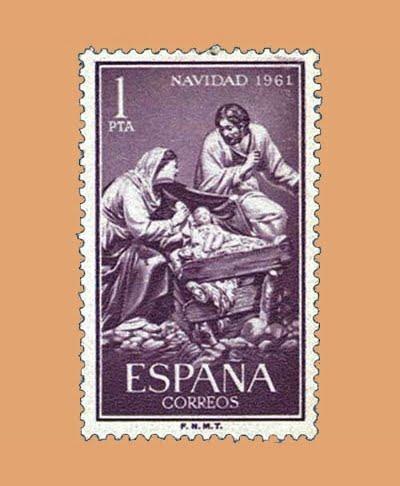 Edifil 1400. La Sagrada Familia. Sello 1 pta. ** Navidad 1961