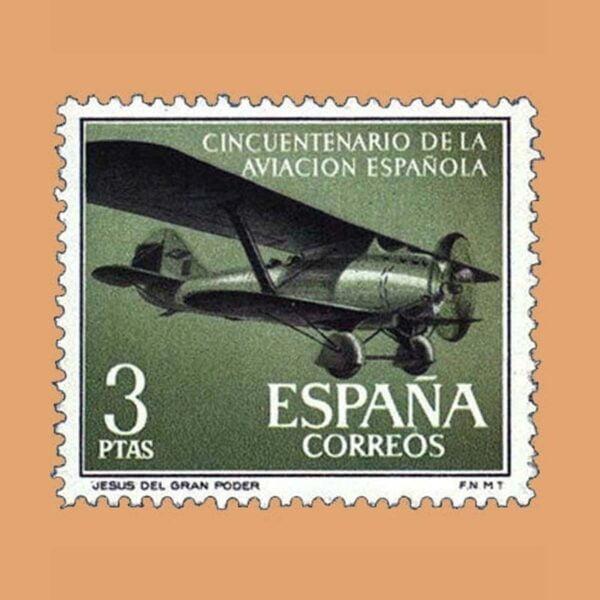 Edifil 1403. Cincuentenario de la Aviación Española. Jesús del Gran Poder. Sello 3 ptas. ** 1961