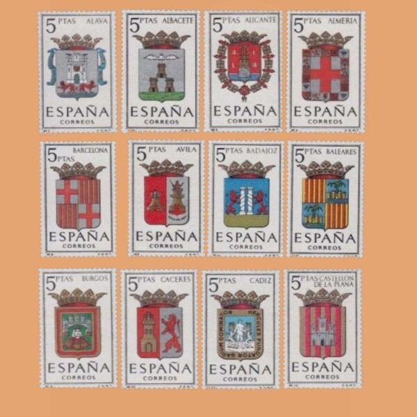 Edifil 1406-1417. Serie Escudos de las Capitales de Provincias. 12 valores. ** 1962