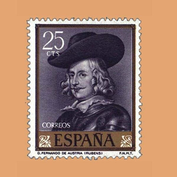 Edifil 1434. Rubens. Fernando de Austria. Sello 25 cts. ** 1962