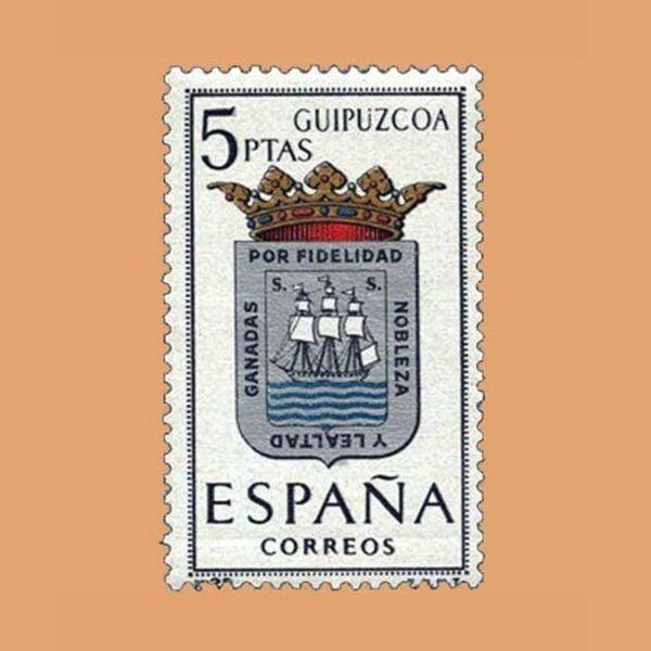 Edifil 1490. Escudos de Capitales de Provincias. Guipúzcoa. Sello 5 ptas. ** 1963