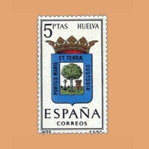 Edifil 1491. Escudos de Capitales de Provincias. Huelva. Sello 5 ptas. ** 1963