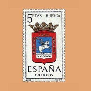Edifil 1492. Escudos de Capitales de Provincias. Huesca. Sello 5 ptas. ** 1963