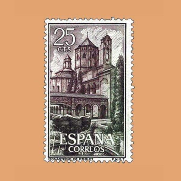 Edifil 1494. Jardín y claustro de Santa María de Poblet. Sello 25 cts. ** 1963