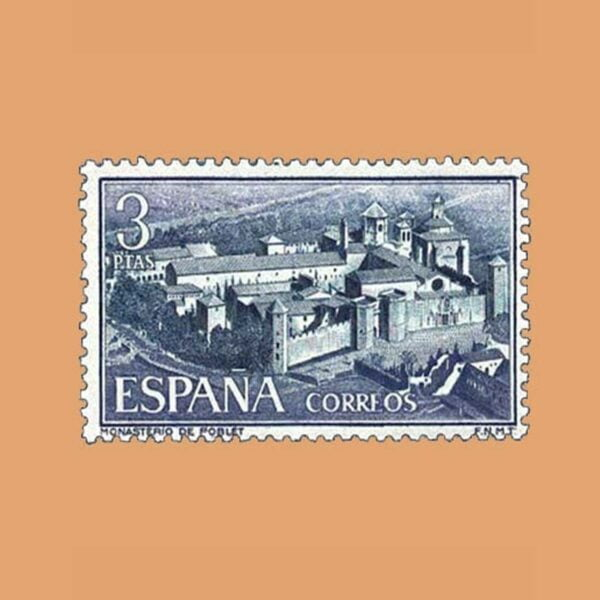 Edifil 1496. Vista general de Santa Maria de Poblet. Sello 3 ptas. ** 1963
