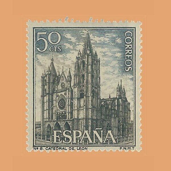 Edifil 1542. Paisajes y Monumentos. Catedral de León. Sello 50 cts. ** 1964