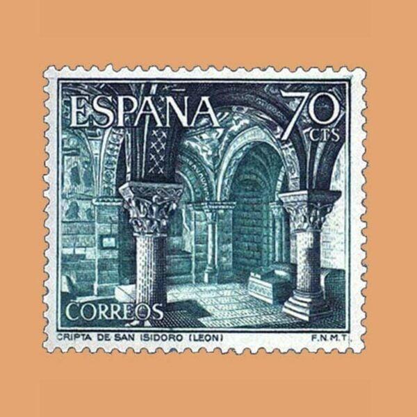 Edifil 1543. Paisajes y Monumentos. Cripta San Isidro (León). Sello 70 cts. ** 1964