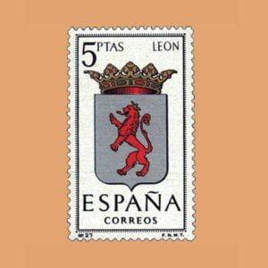Edifil 1553. Escudos de Capitales de Provincias. León. Sello 5 ptas. ** 1964