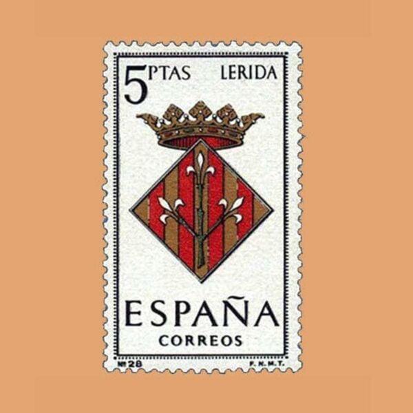 Edifil 1554. Escudos de Capitales de Provincias. Lérida. Sello 5 ptas. ** 1964