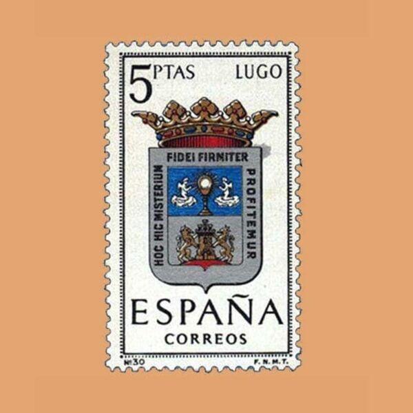 Edifil 1556. Escudos de Capitales de Provincias. Lugo. Sello 5 ptas. ** 1964
