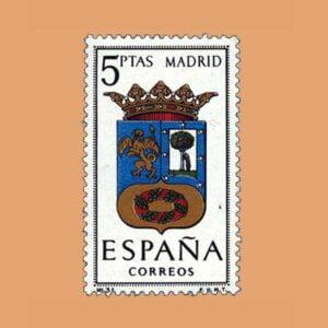 Edifil 1557. Escudos de Capitales de Provincias. Madrid. Sello 5 ptas. ** 1964