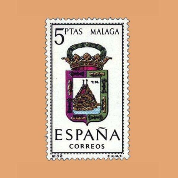 Edifil 1558. Escudos de Capitales de Provincias. Málaga. Sello 5 ptas. ** 1964