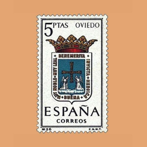 Edifil 1562. Escudos de Capitales de Provincias. Oviedo. Sello 5 ptas. ** 1964