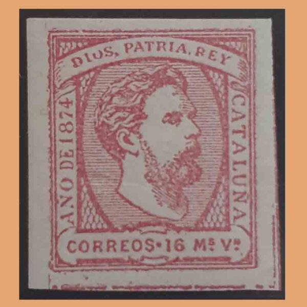 Edifil 157. Correo Carlista. Carlos VII. Cataluña. Sin dentar. 16 mv.